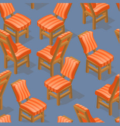 Seamless pattern of isometric cartoon chair front vector