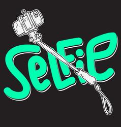 selfie stick design isolated artistic cartoon hand vector image