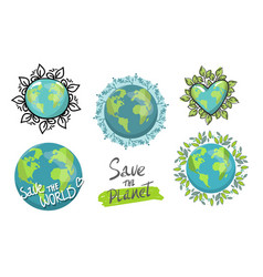 set isolated planets for earth day concept vector image