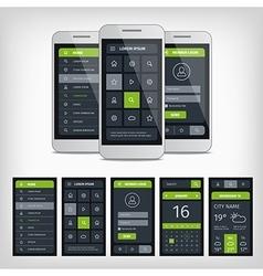 set mobile user aplication interface template vector image