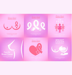 set of pink ribbon breast cancer awareness vector image