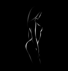 Sexy body nude woman naked sensual beautiful girl vector