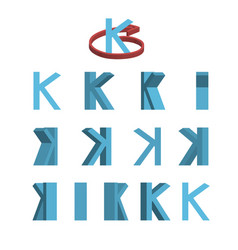 sheet of sprites rotation of cartoon 3d letter k vector image