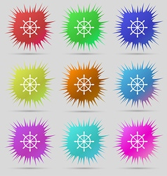 Ship steering wheel icon sign A set of nine vector