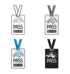 Ski pass icon in cartoon style isolated on white vector