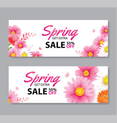 Spring sale voucher banner with blooming flowers vector
