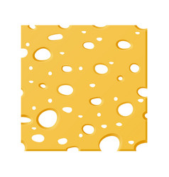 square slice of cheese with holes on white bg vector image