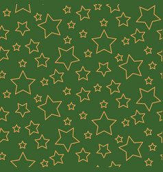 stars seamless pattern background green and gold vector image