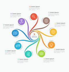 swirl style infographic template with 9 options vector image