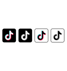 tik tok icon in four different styles - social vector image