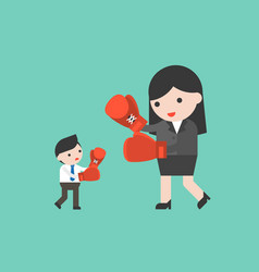 tiny businessman fighting with giant business vector image