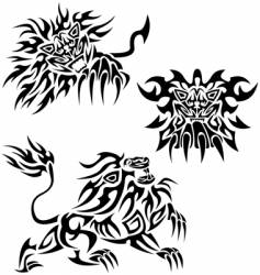 tribal lions vector image