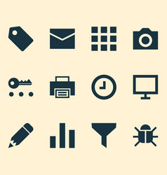user icons set with print display wait and other vector image