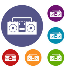 Vintage tape recorder icons set vector
