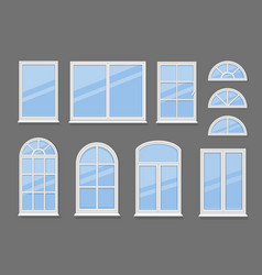 windows with white frames set vector image