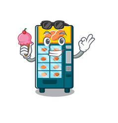 With ice cream bakery vending machine in character vector