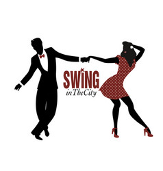 Young couple silhouette dancing swing lindy hop vector