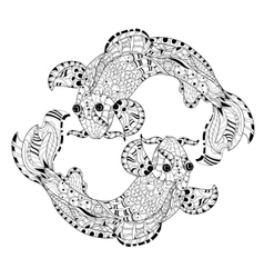 Zentangle stylized floral china fish carp doodle vector image