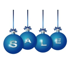 Blue Christmas balls with silver word Sale vector image