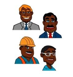 Cartoon builder doctor and businessmen vector image