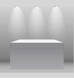 Exhibition concept white empty box stand with vector
