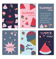 summer holiday vacation poster set flat design vector image vector image