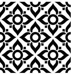 thai seamless pattern with flowers - black vector image