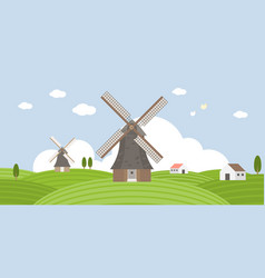 agriculture and farming of wind mill vector image