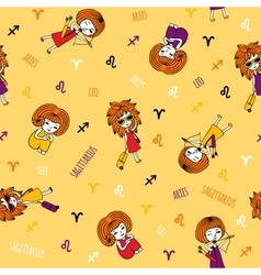 Cute seamless pattern with zodiac signs vector