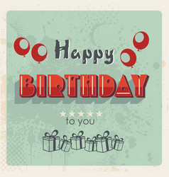happy birthday card vintage design vector image
