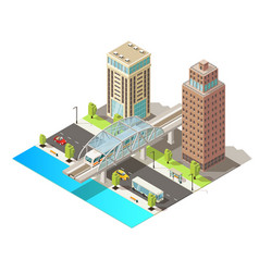 isometric urban traffic template vector image vector image
