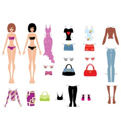 paper dolls with clothes vector image vector image