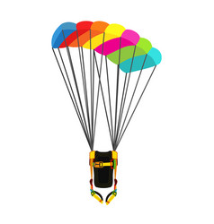 parachute pack with opened parachute skydiving vector image