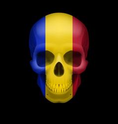 Romanian flag skull vector
