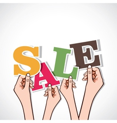 sale word in hand vector image