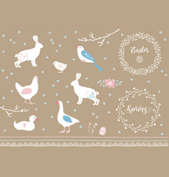set of white hand drawn easter and spring elements vector image vector image