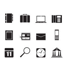 Silhouette Business and Mobile phone icons vector image vector image