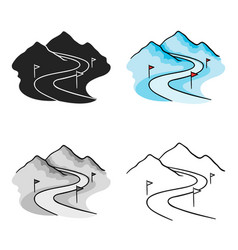 ski track icon in cartoon style isolated on white vector image