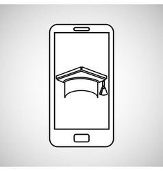 cap graduation mobile device education vector image