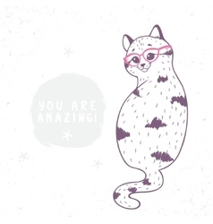 cat with glasses vector image vector image