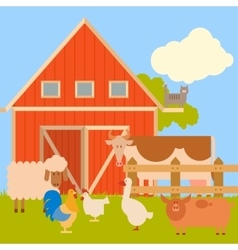Farm banner with flat animals1 vector image