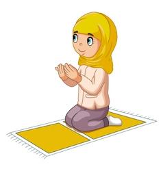 girl cartoon praying vector image