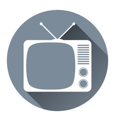 Hipster TV Set Icon Flat Design Style Circle Frame vector image vector image
