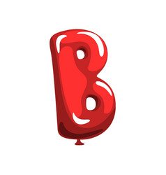 letter b in shape of glossy red balloon funny vector image vector image