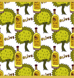 Olives trees and oil bottle seamless pattern vector