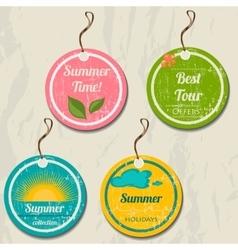 Set of 4 retro summer tags vector image