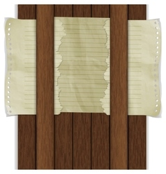 wooden background with paper sheet vector image vector image