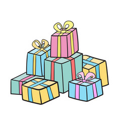 christmas or birthday presents collection vector image vector image