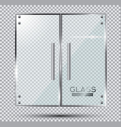 glass doors on transparent background vector image