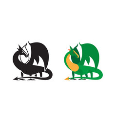 medieval dragon icon and silhouette vector image